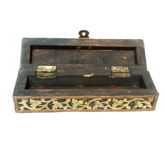 Mhart Gilded Gold Brass Wooden Jewelry Box - Image 4 of 4