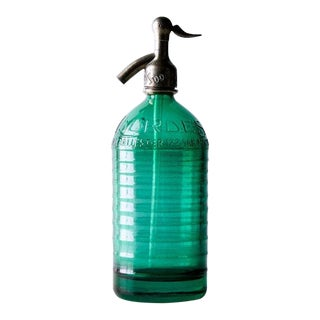 1930's Industrial Green Glass Seltzer For Sale