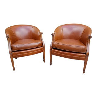Vintage Kittinger Carved Mahogany Base Upholstered Cognac Calf Edelman Leather Barrel Back Armchairs - a Pair For Sale