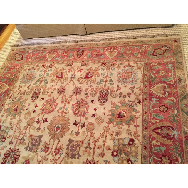 Designer Wool Rug Cream & Red - 8' x 11' - Image 5 of 10