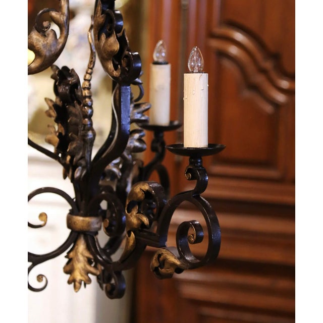 19th Century, French Louis XV Iron Black and Gilt Painted Three-Light Chandelier For Sale - Image 4 of 9