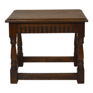 Vintage English Oak Joined Stool For Sale