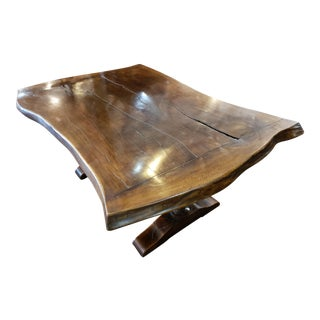 Live Edge Shaped Top Refectory Table For Sale