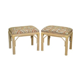 McGuire Style Rattan Bamboo Frame Benches - a Pair For Sale