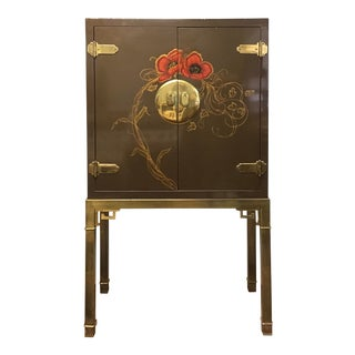 Mastercraft Brass and Lacquered Bar Cabinet For Sale