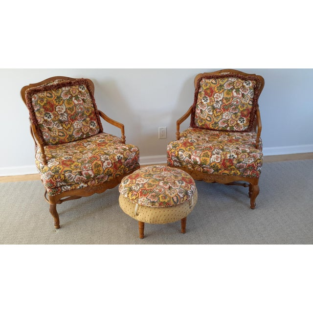 Country French Style Chairs and Ottoman Set - Image 7 of 7