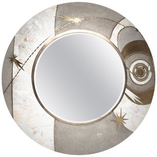 Constellation Mirror in Cream Shagreen Shell & Bronze-Patina Brass by Kifu Paris For Sale
