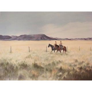 """""""Fence Riders"""" Lithograph Signed and Numbered by Gwendolyn Branstetter For Sale"""