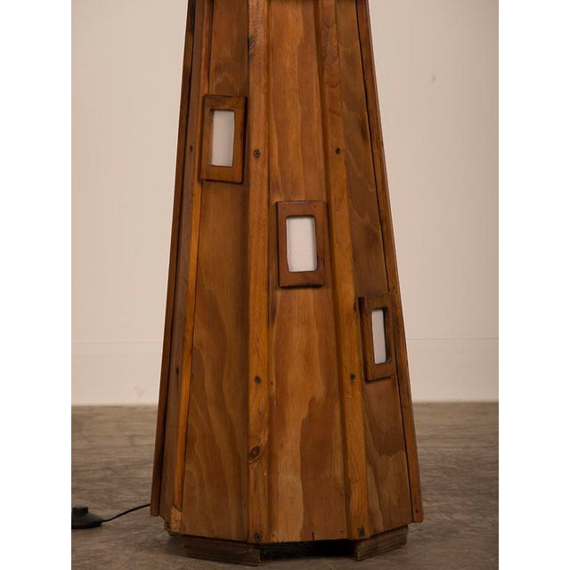 White Vintage French Handmade Wood Lighthouse Floor Lamp circa 1950 For Sale - Image 8 of 8