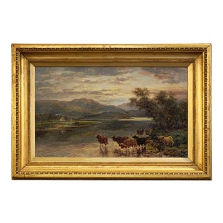 English Framed Oil Painting of Highland River Landscape by Andrew Lennox For Sale