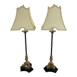 Regency Style Black and Gold Table Lamps - a Pair For Sale