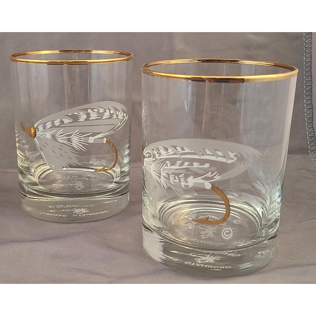 Set 4 New Old Stock Winnie Staniford Designs Gold Rimmed Fly Fishing Rocks Glasses For Sale - Image 4 of 9