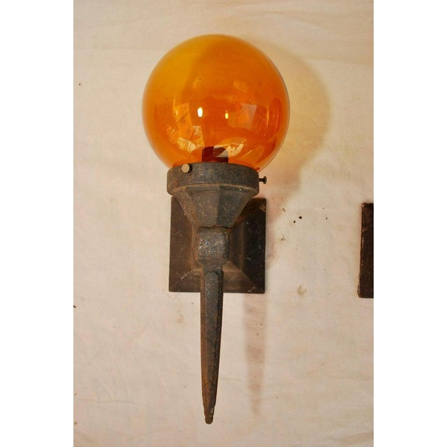 1920s Cast Iron Outdoor Sconces - a Pair For Sale - Image 4 of 5