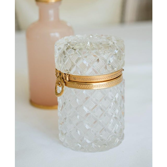 Antique French Cut Crystal Trinket Box For Sale - Image 4 of 10