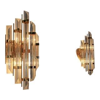 Glamorous Pair of Italian Brass & Glass Sconces