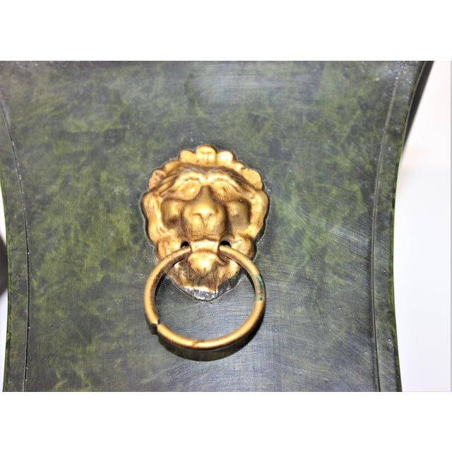 Vintage Dark Green Cachepot with Lion Handles - a Pair - from a Palm Beach estate Please note that the bottom of the...
