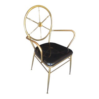 """Italian Brass """"Compass Back"""" Armchair Attributed to Gio Ponti C. 1960s For Sale"""