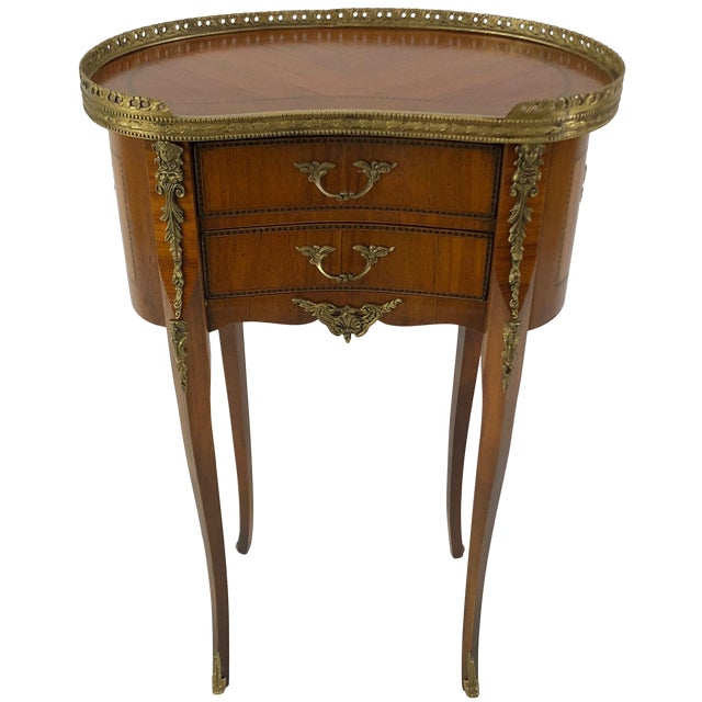 Exquisite Italian Kidney Shaped Inlay Mahogany Nightstand or End Table For Sale