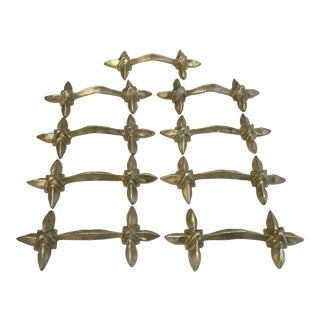 Art Deco Style Gold Iron Cabinet Handles - New, 9 Available For Sale