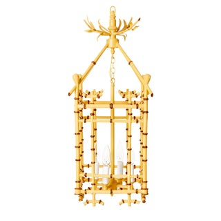 Chinoiserie Faux Bamboo Tole Hanging Lantern Chandelier For Sale