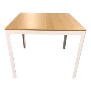 Modern Square Wood + Metal Table For Sale