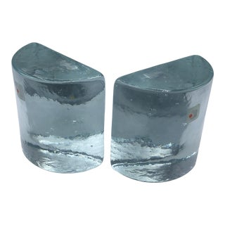 Blenko Glass Bookends With Original Labels - a Pair For Sale