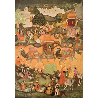 Rare 1950 Princess Voyaging in a Palanquin, Original Gold-Leafed Parisian Lithograph For Sale