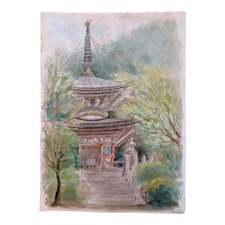 Japanese Architectural Original Watercolor Painting (2 of 4) For Sale