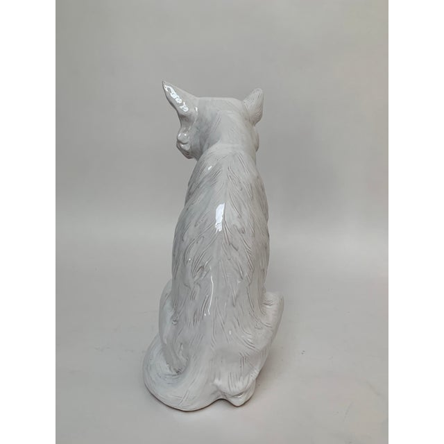 1960s Italian Large White Terra Cotta Arctic Fox For Sale - Image 5 of 12
