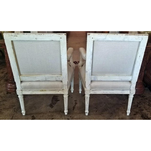 Louis XVI Style Pair of Painted Armchairs For Sale - Image 4 of 12