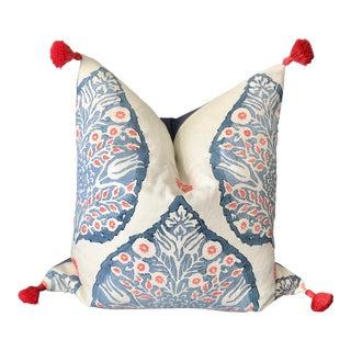 Custom Galbraith & Paul Lotus Coral & Blue Throw Pillow For Sale