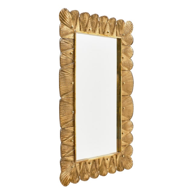 Modern Murano Glass Gold Leaf Mirror For Sale - Image 3 of 11