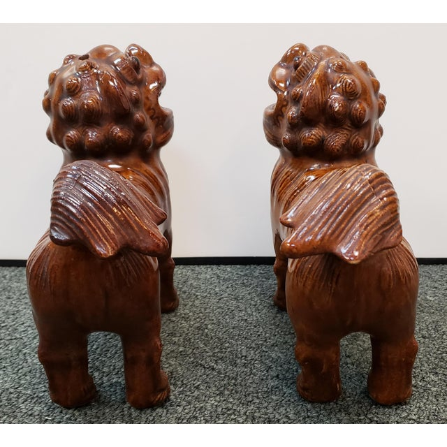 Circa 1900 Japanese Brown Glazed Clay Shisa Dog Statues - a Pair For Sale - Image 4 of 6