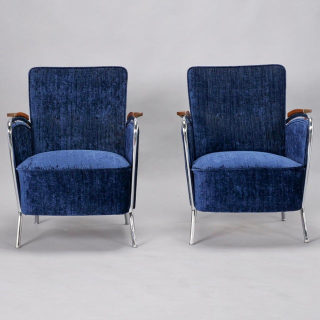 Pair of Bauhaus Steel and Wood Club Chairs For Sale - Image 10 of 10