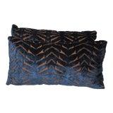 Image of Art Deco Designer's Guild Cut Velvet Lumbar Pillows - a Pair For Sale