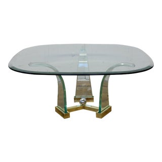 Vintage Hollywood Regency Lucite and Brass Coffee Table For Sale
