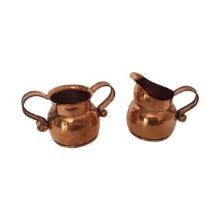 Hector Aguilar Taxco Copper Creamer & Sugar For Sale
