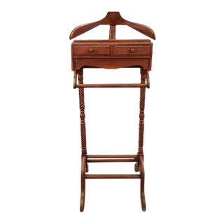 Vintage Gentleman's Wooden Valet Stand Suit Rack Clothing Hanger Butler For Sale