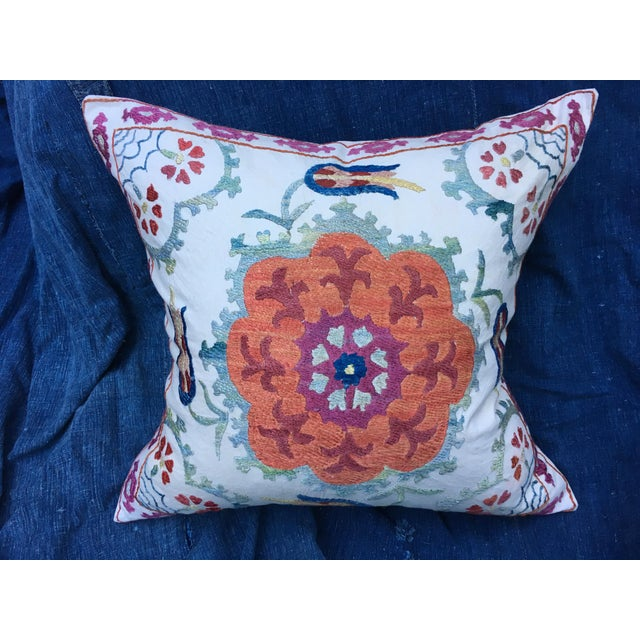 Pillow cover with embroidered Suzani pattern in fabulous color combination. A great exotic bohemian addition for any room....