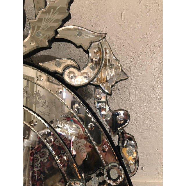 Venetian Style Etched Oval Mirror For Sale - Image 10 of 11