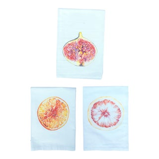 Hand-Designed Tea Napkins Fig, Orange, & Grapefruit - Set of 3