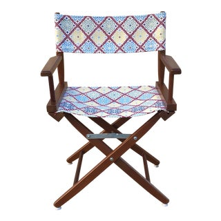 Vintage Red & Blue Batik Folding Director's Chair For Sale
