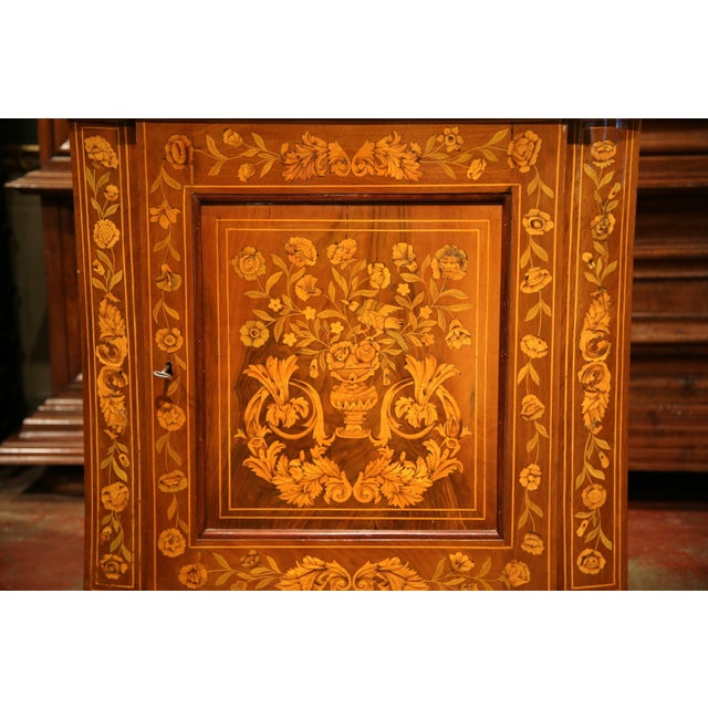 Empire Early 19th Century Dutch Walnut Marquetry Corner Cabinet with Inlay Work For Sale - Image 3 of 9