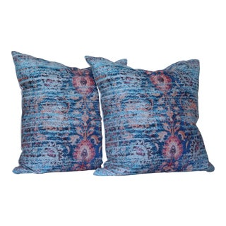 Distressed Blue Ikat Print Pillow Covers- a Pair For Sale