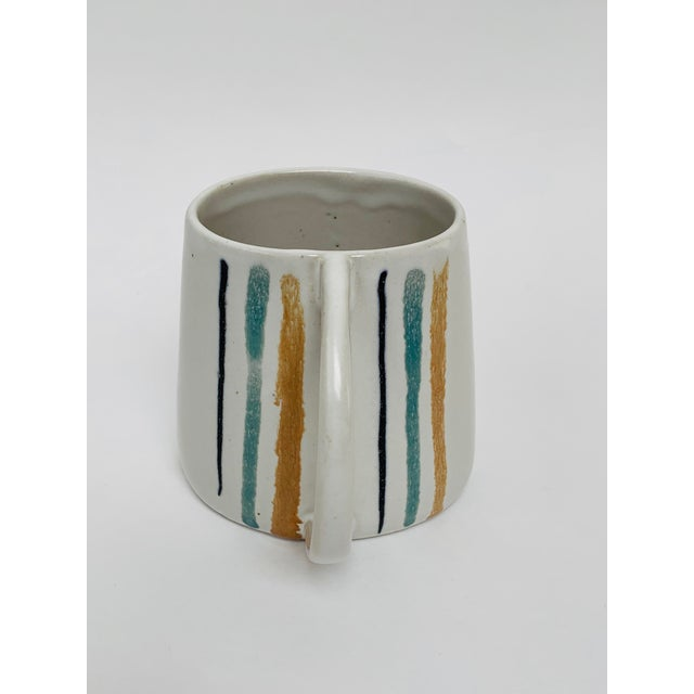 Ceramic 1960s Mid Century Modern Striped Oval Stoneware Mug From Bennington Potters For Sale - Image 7 of 13