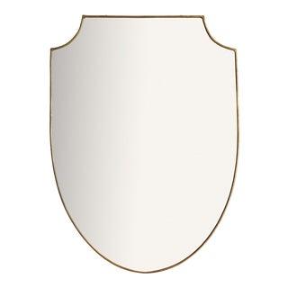 Italian Brass Shield Mirror For Sale