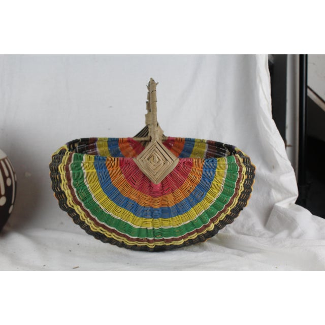 Textile 20th Century Zulu Telephone Wire Rainbow Basket For Sale - Image 7 of 7