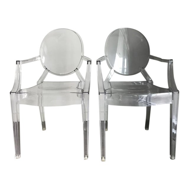 Modern Philippe Starck for Kartell Louis Ghost Armchairs - a Pair For Sale
