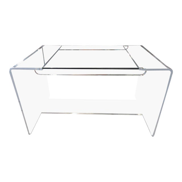 Lucite & Glass Lucite Waterfall Desk - Image 1 of 8