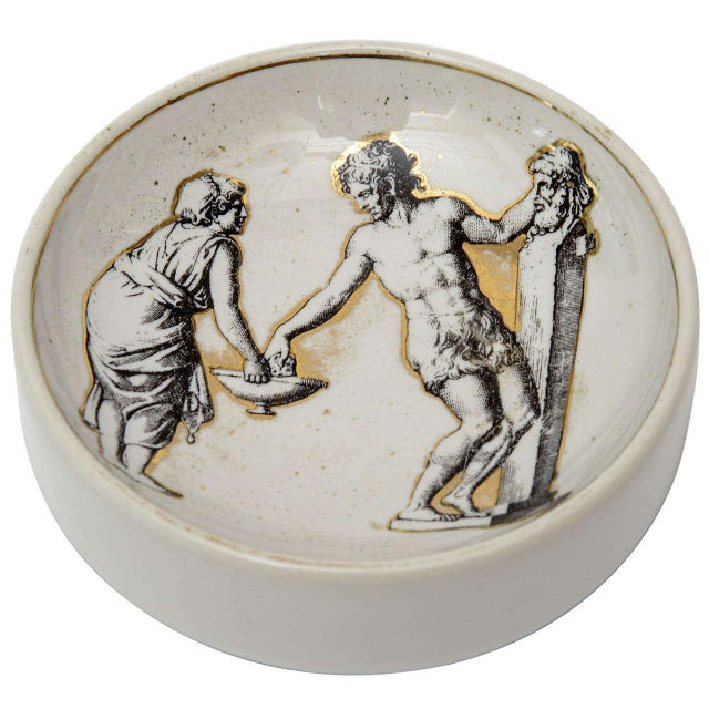 Italian Signed Fornasetti Porcelain/Gold Period Round Bowl/Dish For Sale - Image 11 of 11